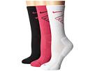 Nike Dri-Fit Fly Crew 3-Pair Pack (Vivid Pink/Black/White/Vivid Pink/Black/Vivid Pink)
