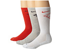 Nike - Dri-Fit Fly Crew 3-Pair Pack (LT Crimson/Dark Base White/Light Crimson Grey Heather/Light Crim)