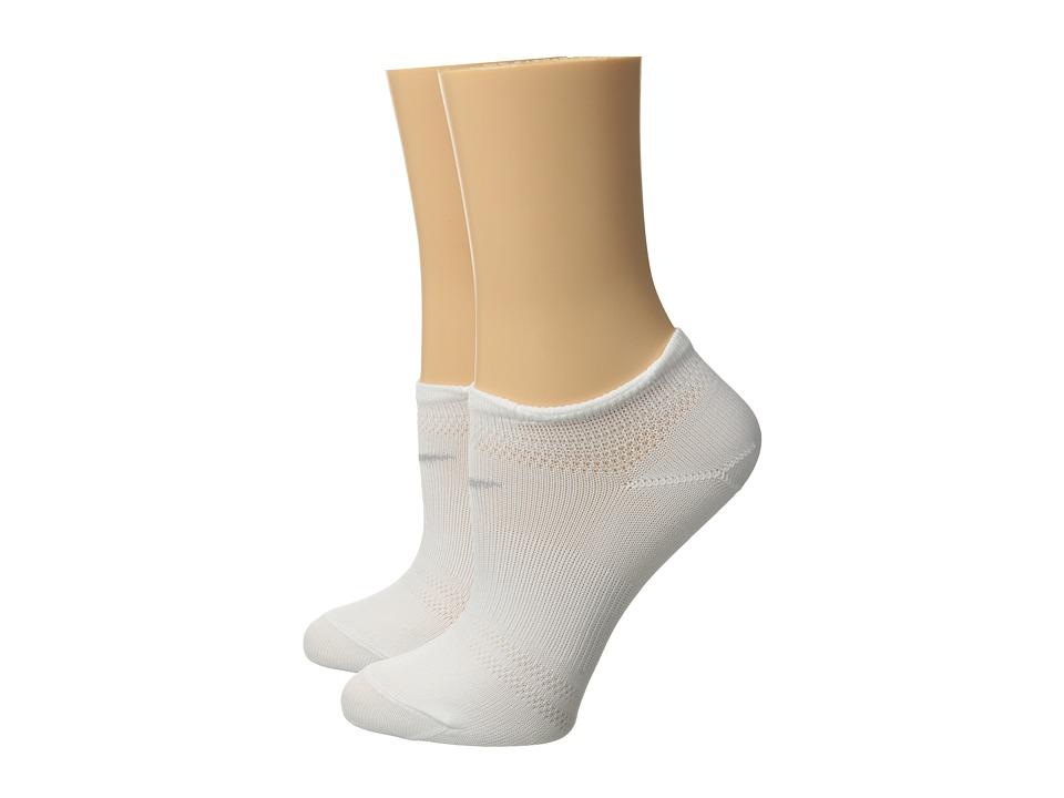Nike - 2 Pair Pack Lightweight Studio No Show (White/Wolf Grey) Womens No Show Socks Shoes
