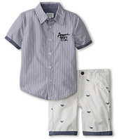Armani Junior - 2 Piece Set: Stripe Button Down S/S And Logo Short (Toddler/Little Kids/Big Kids)
