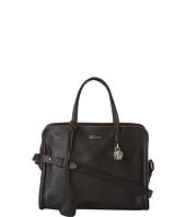 Alexander McQueen - Silver Skull Leather Padlock Top Handle Bag Black