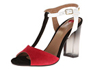 LOVE Moschino - Lucite Heel T-Strap Sandal (Red/Black/White) - Footwear