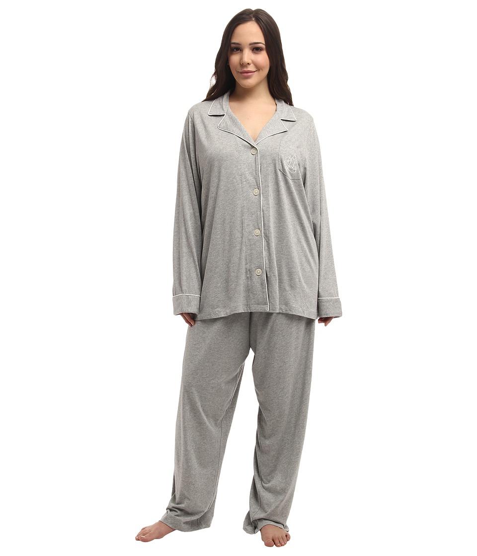 LAUREN Ralph Lauren - Plus Size Hammond Knits Pajama Set (Heather Grey) Womens Pajama Sets