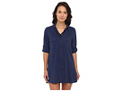 LAUREN Ralph Lauren - Crushed Cotton Camp Shirt Cover-Up (Bright Indigo)
