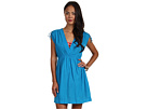 LAUREN Ralph Lauren - Crushed Cotton Farrah Dress Cover-Up (Deep Turquoise)