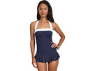 LAUREN Ralph Lauren Harbor Dot Shirred Bandeau Skirted Mio