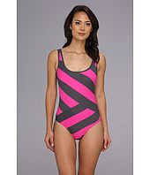 DKNY - Chic Stripe Spliced Scoop Back Maillot One-Piece