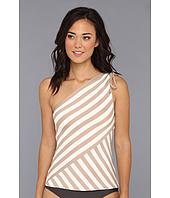 DKNY - Chic Stripe Spliced One Shoulder Tankini