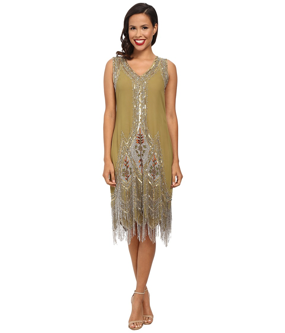 Unique Vintage - Green Silver Embroidered Flapper Dress Green Womens Clothing $348.00 AT vintagedancer.com