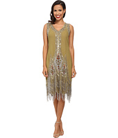 Unique Vintage - Green & Silver Embroidered Flapper Dress