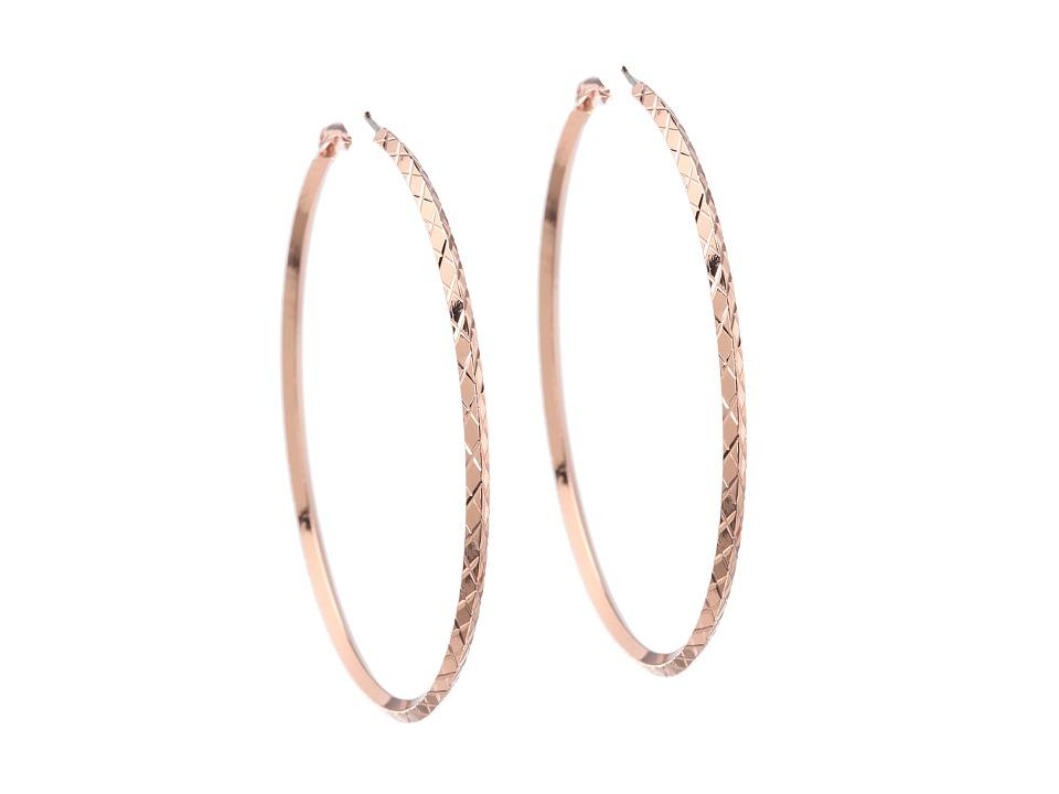 GUESS - Diamond Cut Hoop Earring (Rose Gold) Earring