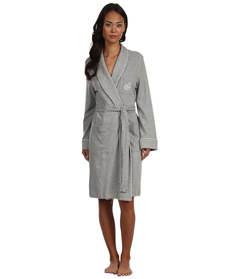 LAUREN Ralph Lauren Essentials Quilted Collar and Cuff Robe - Grey Heather