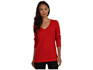 LAUREN Ralph Lauren - Essentials L/S V-Neck Sleep Tee (Holiday Red)