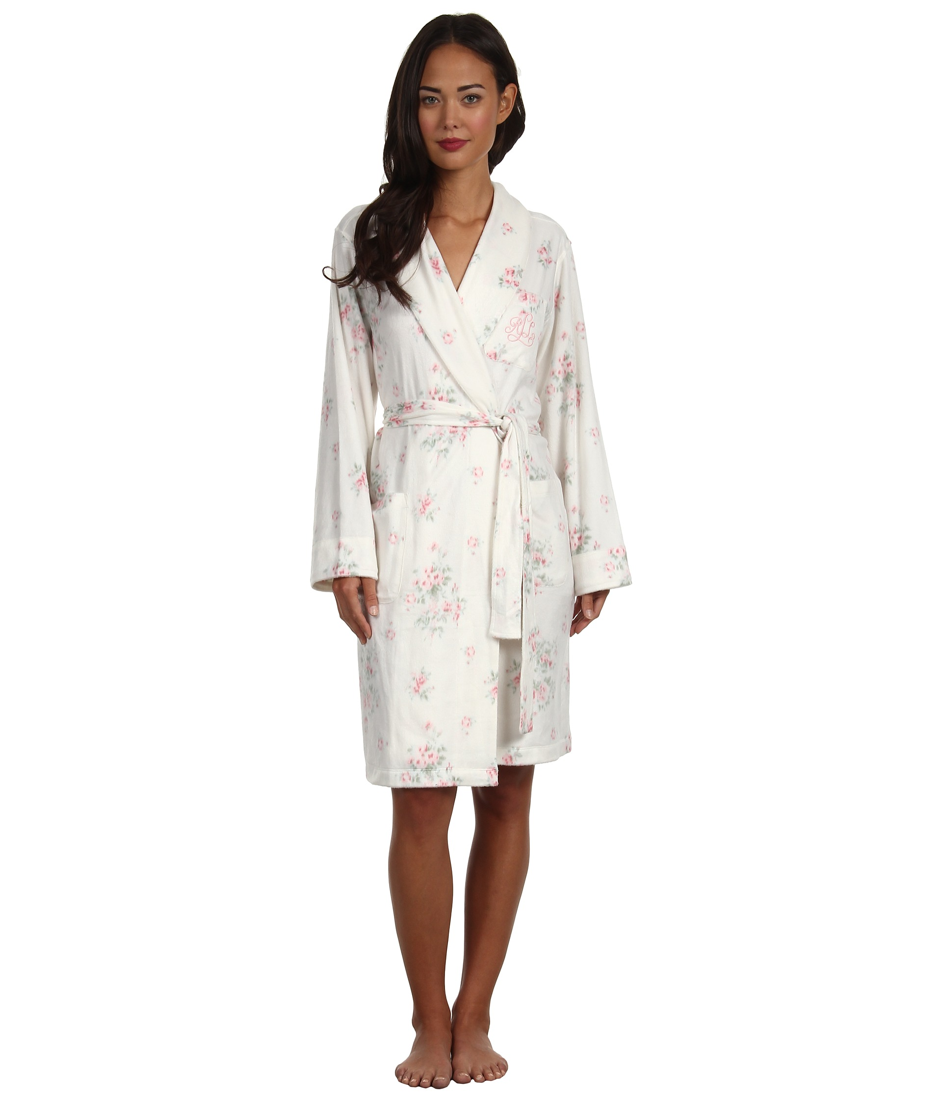 lauren ralph lauren dangerous liaisons short shawl collar robe camille floral shipped free at. Black Bedroom Furniture Sets. Home Design Ideas