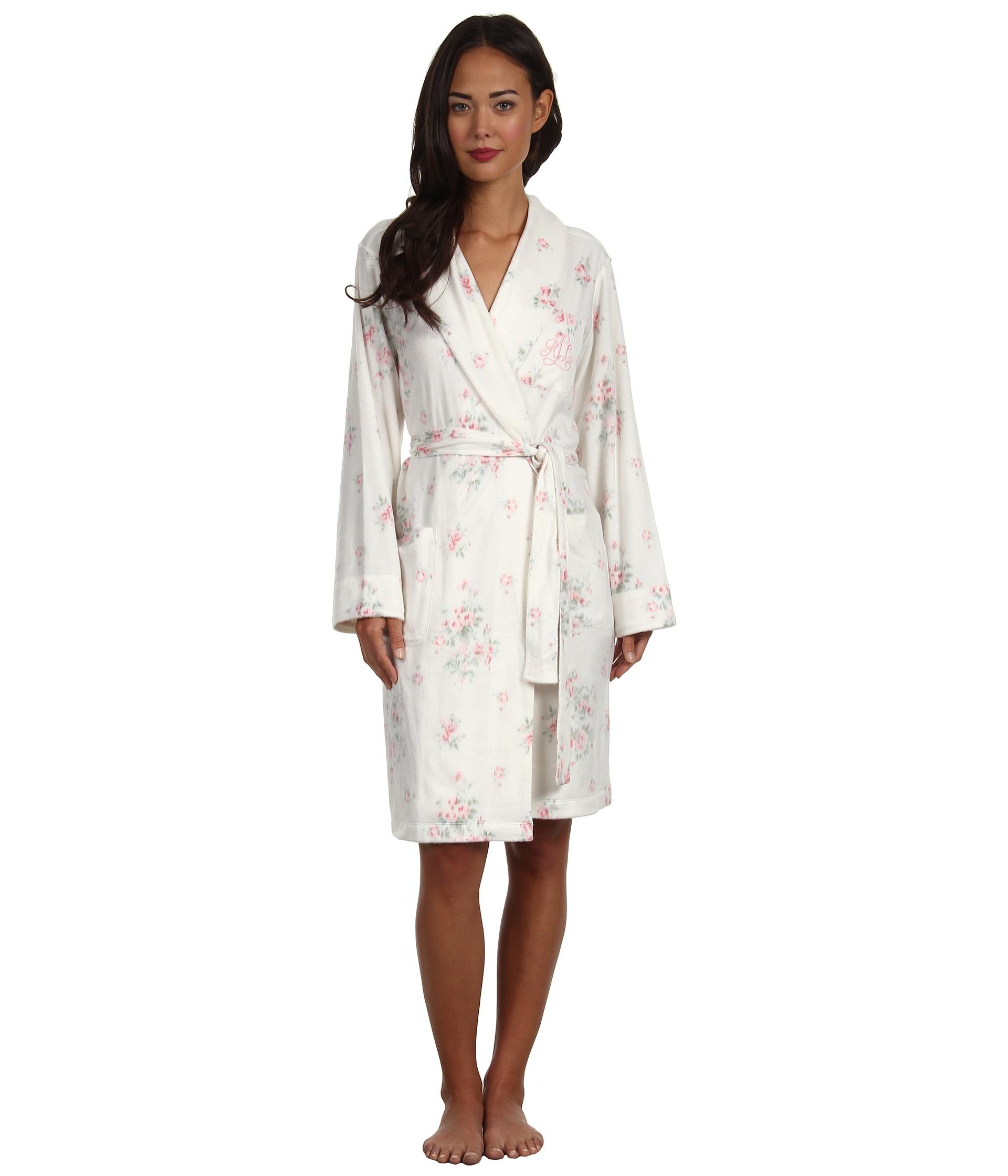 lauren ralph lauren dangerous liaisons short shawl collar robe camille floral shipped free at. Black Bedroom Furniture Sets. Home Design Ideas