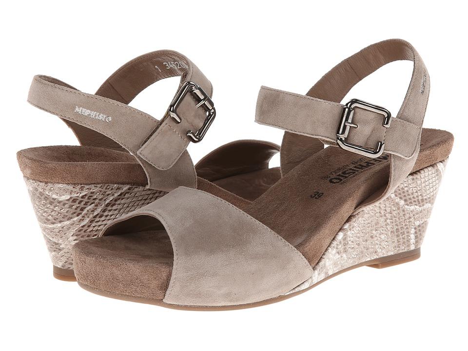 Mephisto Beauty (Warm Grey Velcalf Premium/Light Sand Boa) Women's Hook and Loop Shoes