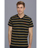 U.S. POLO ASSN. - Striped V-Neck T-Shirt with Three Contrast Colors