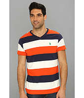 U.S. POLO ASSN. - Wide Striped T-Shirt with V-Neckline