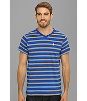 U.S. POLO ASSN. - Short Sleeve Striped T-Shirt with V-Neckline