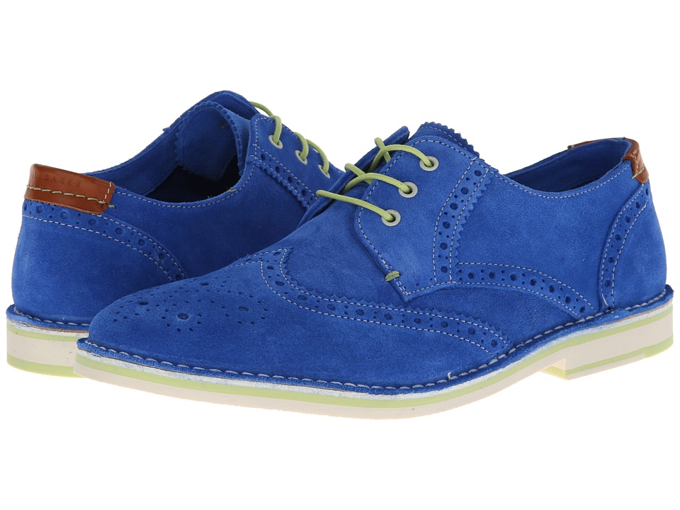 Ted Baker Jamfro 3 (Blue Suede) Men's Lace Up Wing Tip Shoes