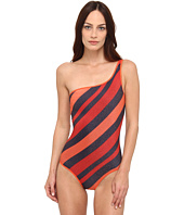 Marc by Marc Jacobs - Cory Stripe Reversible One Shoulder Maillot