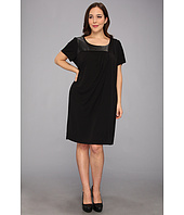 DKNYC - Plus Size S/S Drape Front Dress w/ Faux Leather Yoke