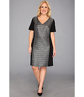 DKNYC - Plus Size S/S V-Neck Dress w/ Metallic Panel