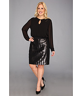 DKNYC - Plus Size L/S Dress w/ Ponte Skirt and Herringbone Sequin Front