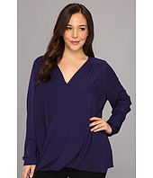 DKNYC - Plus Size L/S Wrap Front Blouse w/ High-low Hem