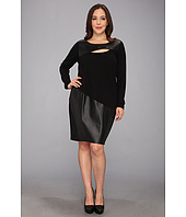 DKNYC - Plus Size L/S Dress w/ Faux Leather Panel