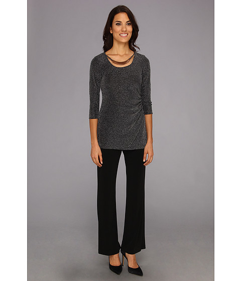 Cheap Price Jessica Howard One Piece 3 4 Sleeve Tunic With Metal Necklace Pantsuit Black Silver