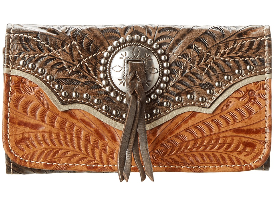 American West - Heart Of Gold Tri-Fold Wallet (Tan/Grey-Brown) Wallet Handbags