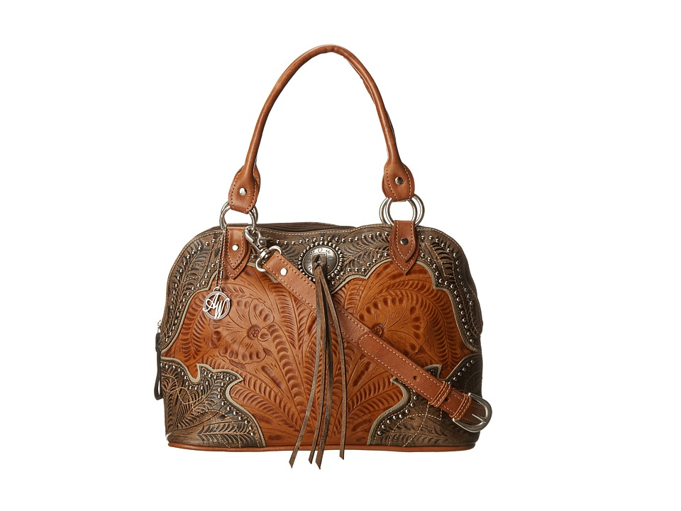 American West - Heart Of Gold Satchel/Crossbody (Tan/Grey-Brown) Cross Body Handbags