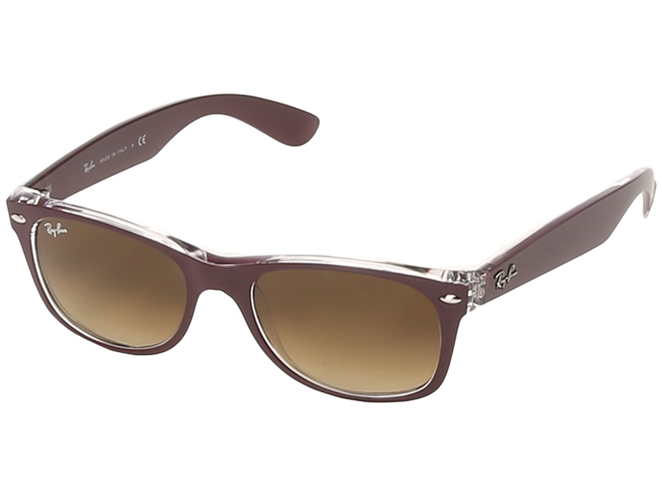 Ray-Ban - RB2132 New Wayfarer 52mm (Matte Bordeaux) Sport Sunglasses