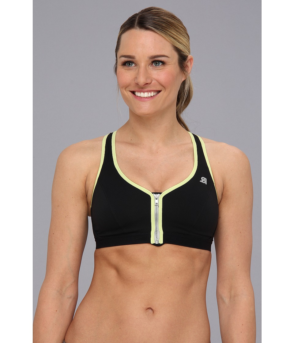 Shock Absorber Active Zipped Plunge Sports Bra S00BW Black/Green Womens Bra
