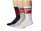 Nike - Dri-FIT Crew Sock 3-Pair Pack (White/Medium Navy/University Red/Medium Navy/University Red/Grey)