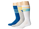 Nike - Dri-FIT Crew Sock 3-Pair Pack (White/Polarized Blue/Atomic Mango Mil Blue/Polarized Blue/Grey H)