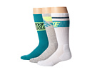 Nike - Dri-FIT Crew Sock 3-Pair Pack (White/Volt/Turbo Green/Turbo Green/Volt Grey Heather/Volt/Turbo)