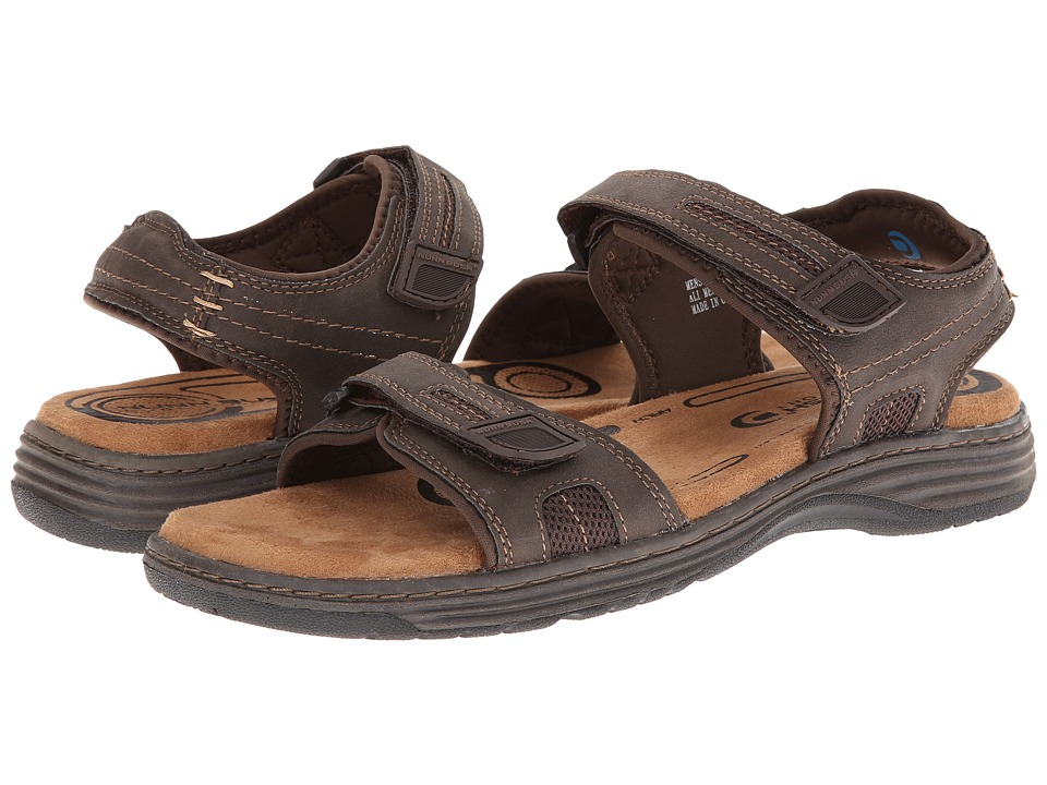 Nunn Bush Regan Two-Strap Sandal (Brown Crazy Horse) Men