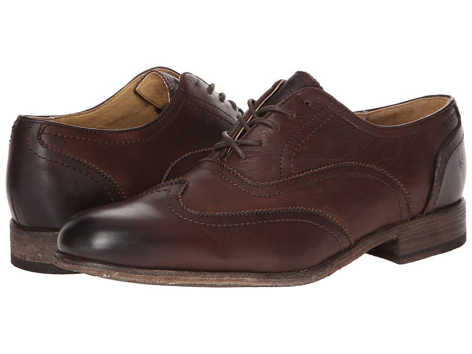 Frye - Harvey Wingtip Dark Brown Soft Vintage Leather Mens Lace Up Wing Tip Shoes $258.00 AT vintagedancer.com
