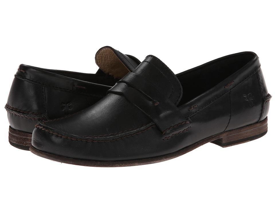 Frye - Lewis Leather Penny (Black Antique Pull Up) Men