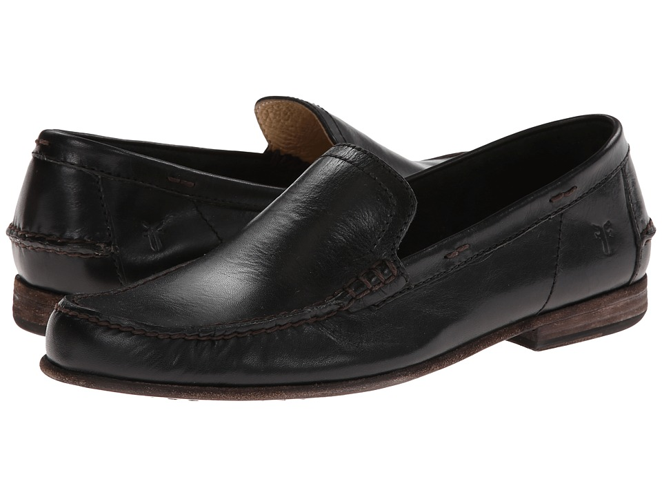 Frye - Lewis Leather Venetian (Black Antique Pull Up) Mens Shoes