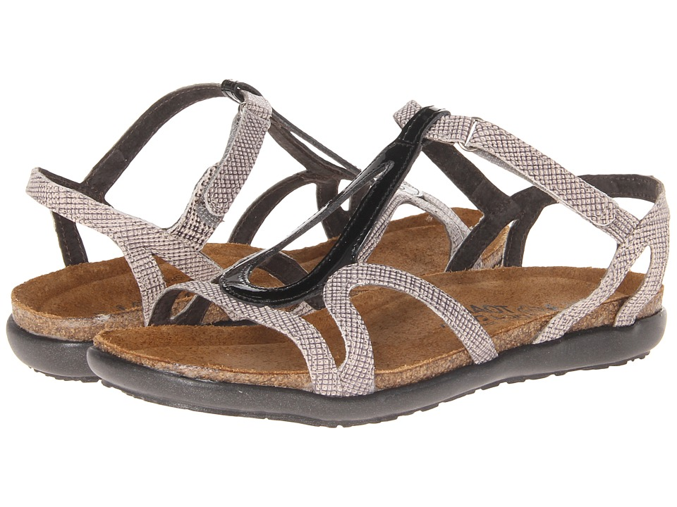 Naot Footwear Dorith Black Patent Leather/Fishnet Leather Womens Sandals