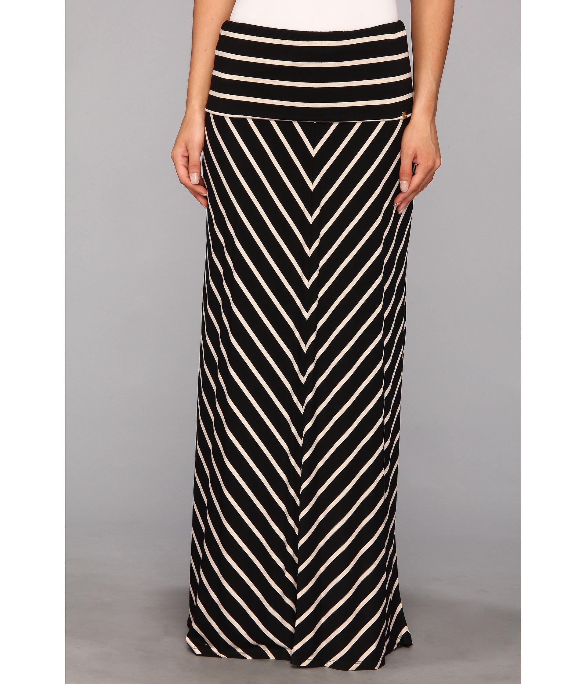 calvin klein stripe maxi skirt black latte