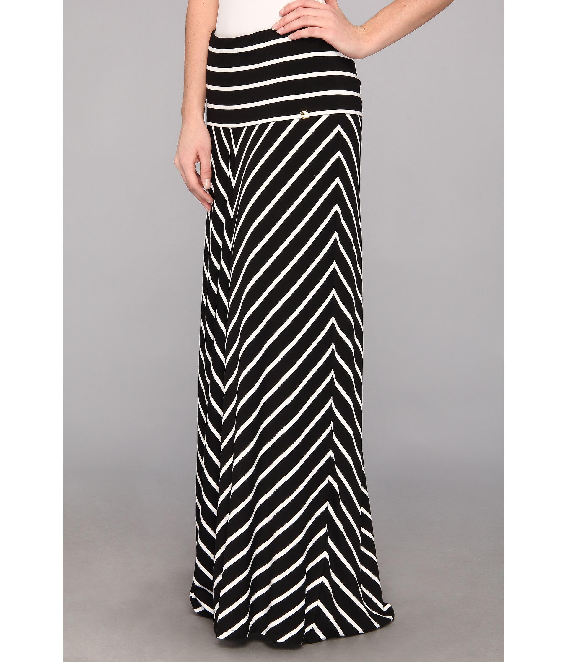 calvin klein stripe maxi skirt black white shipped free