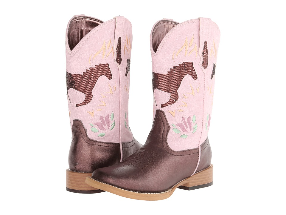 Roper Kids Bling Chunks w/ Horse Toddler/Little Kid Brown/Pink Cowboy Boots