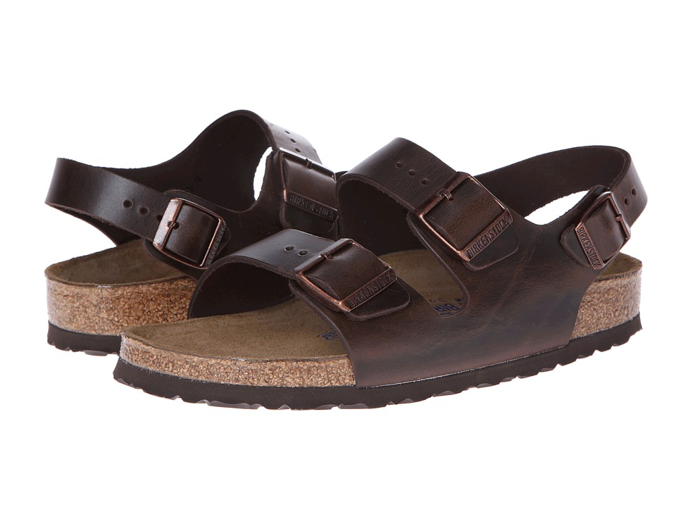 Birkenstock Milano Leather Soft Footbed (Unisex) (Brown Amalfi Leather) Sandals