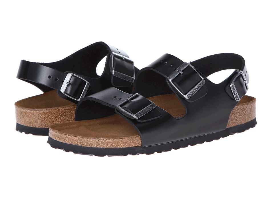 Birkenstock Milano Leather Soft Footbed (Unisex) (Black Amalfi Leather) Sandals