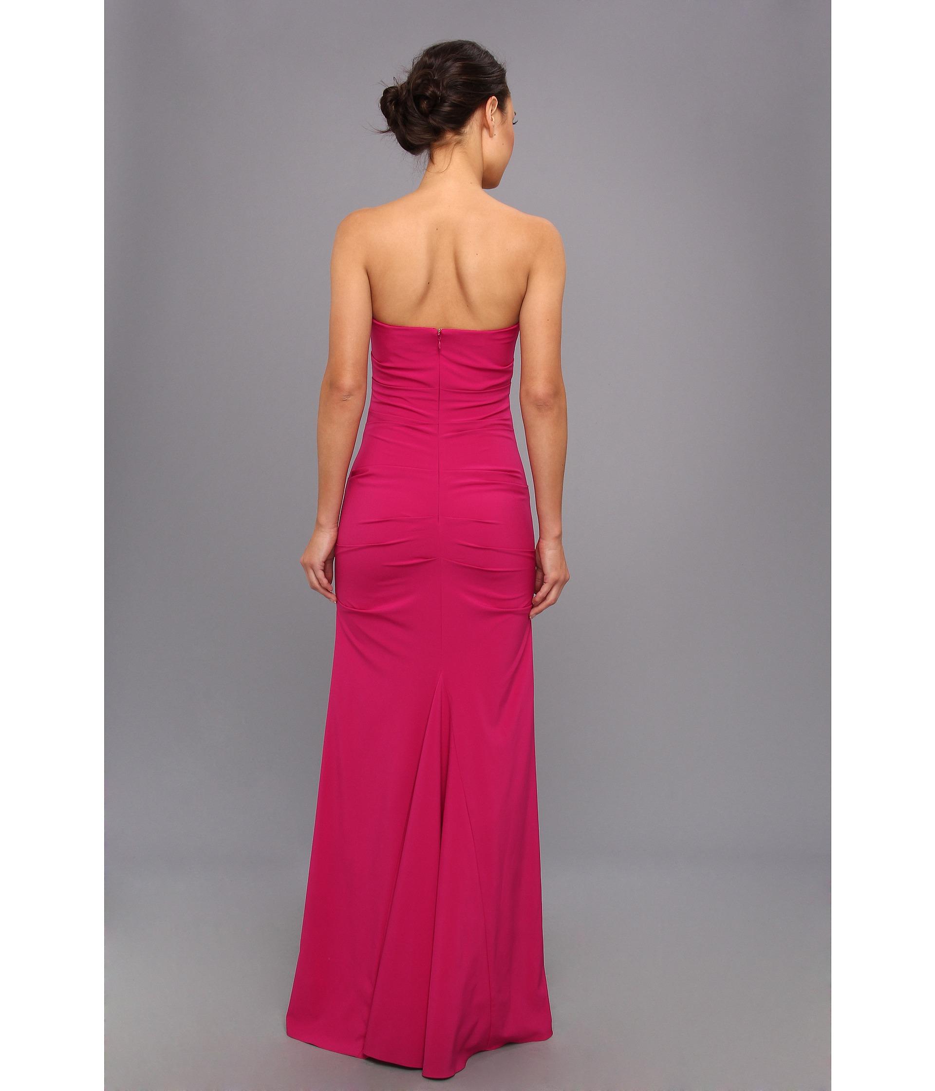 nicole miller strapless column gown