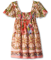 Dolce & Gabbana - Flowers and Wheel Scarf Print Dress (Little Kids)